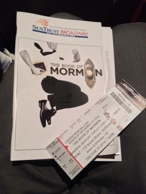 Book of Mormon was hilarious! I loved watching it. Definitely recommend seeing it!